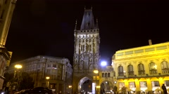 Types of Prague. Gothic Powder Tower at night. Czech Republic. Stock Footage