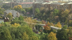 Timelapse. The movement of urban transport. Monorail. Stock Footage