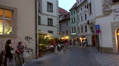 Types of the old town (Stare Mesto) of Prague at twilight. Stock Footage