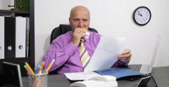 Business Person Office Desk Job Eat Cheeseburger Looking Careful Files Documents - stock footage