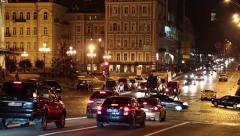 Road traffic near opera house in Kiev, Ukraine - stock footage