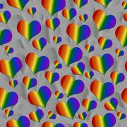 Stock Illustration of LGBT Pride Colored Hearts over Gray Tile Pattern Repeat Background