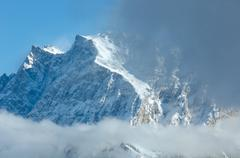 Winter mountain landscape (Austria, Tiroler Alpen). - stock photo
