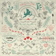 Sketched Flourish Design Elements on Crumpled Paper - stock illustration