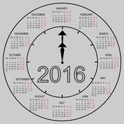 watch dial calendar 2016 new year - stock illustration