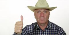 Ranch Farmer Wearing Cowboy Hat Satisfied Good Sales Thumbs Up Confident Face Stock Footage