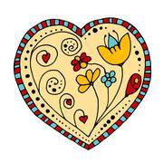 Sketchy Doodle Heart - stock illustration