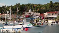 Yachts in harbour in Nea Skioni village, Greece Stock Footage