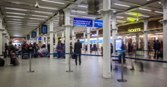 Time lapse of commuters boarding the Eurostar at London St Pancras station Stock Footage