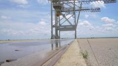 Smooth travelling on a deserted industrial harbor. Stock Footage