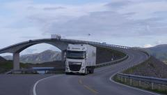 Atlantic Ocean Road famous bridge Norway close view truck and cars passing Stock Footage