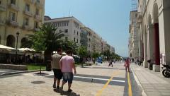 People near Aristotelous Square in Thessaloniki, Greece Stock Footage