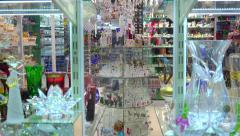 Storefront of the Bohemian glass shop. Prague Stock Footage