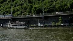 Prague Tourist Boat Tram Cars Stock Footage