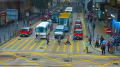 Urban vehicle and pedestrian traffic at a downtown, Hong Kong Stock Footage