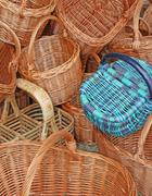Wicker baskets handcrafted by a skilled craftsman Stock Photos