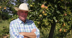 Rustic Farmer Orchard Owner Looking Proud Fruit Trees Harvest Farmland Business Stock Footage