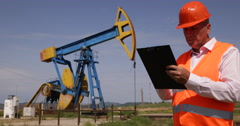 Extracting Technology Oil Industry Technician Clipboard Write Global Resources Stock Footage