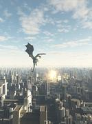 Stock Illustration of Dragon Attacking a Future City