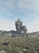 Ruined Tower on a Rocky Outcrop Stock Illustration