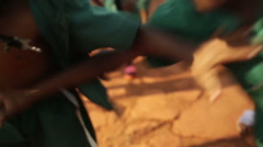 Young happy African boys playing class at school in rural Uganda - stock footage