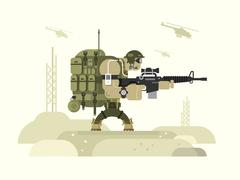 Character military peacekeeper - stock illustration