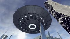 Sensational UFO hoovering above a sci-fi city 4K Stock Footage