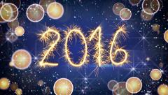 Sparkler text animation new 2016 year greeting 4k (4096x2304) Arkistovideo