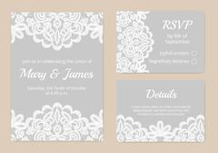 Lace cards for wedding Stock Illustration