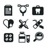 Medicine vector icons set. Doctors tools for health care Stock Illustration