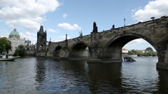 Prague Tourist Boat Charles Bridge 1 Stock Footage