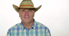 American Western Cowboy Smiling Farmer Happy Look Camera Television Interview Stock Footage