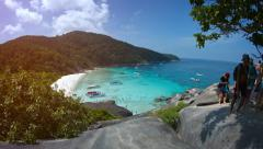 Overlooking shot of crystal clear waters and bold horizon line off Koh Simila Stock Footage