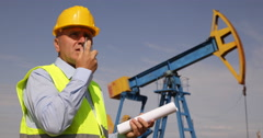 Walkie-Talkie Radio Station Communication Oil Pump Engineer Talking Employers Stock Footage
