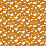 Orange and White I Love Writing Tile Pattern Repeat Background Stock Illustration