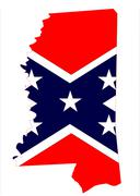 Mississippi Map And Confederate Flag - stock illustration