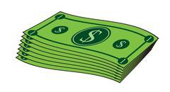 Cartoon money, dollar banknote, paper bill. Vector illustration isolated on w Stock Illustration
