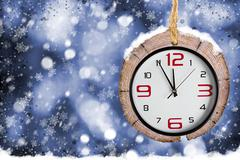 Abstract Xmas backgrounds with old watches Stock Photos