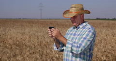 Modern Farmer Man Mobile Phone Writing Messages Internet Surfing Holding Device Stock Footage