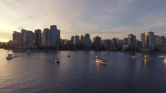 4K Aerial Drone shot of Vancouver Skyline at sunset Stock Footage