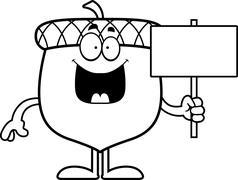 Stock Illustration of Cartoon Acorn Sign