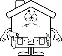 Sick Cartoon Home Improvement Stock Illustration