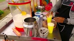 Street Vendor Hawker Selling Cold Drinks, Kuala Lumpur - stock footage