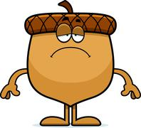 Sad Cartoon Acorn - stock illustration