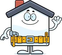 Cartoon Home Improvement Waving Stock Illustration
