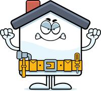 Angry Cartoon Home Improvement Stock Illustration