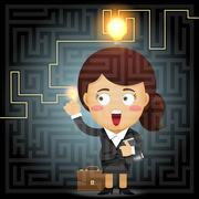 business woman solving the solution of labyrinth - stock illustration