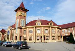 View of railway station in Uzhhorod,Ukraine,Europe Stock Photos