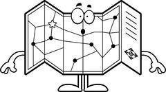 Surprised Cartoon Road Map - stock illustration