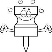 Stock Illustration of Cartoon Pushpin Hug